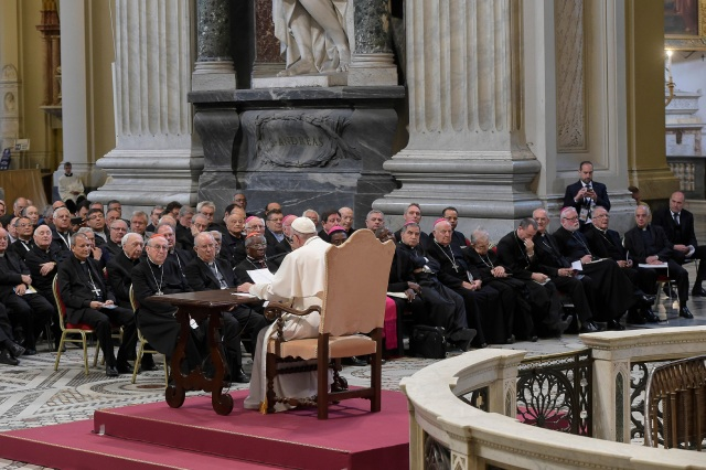 Pope Francis delivers a talk during a retreat for priests and members of the Rome Curia at the Basilica of St. John Lateran in Rome June 2. (CNS photo/L'Osservatore Romano, handout)