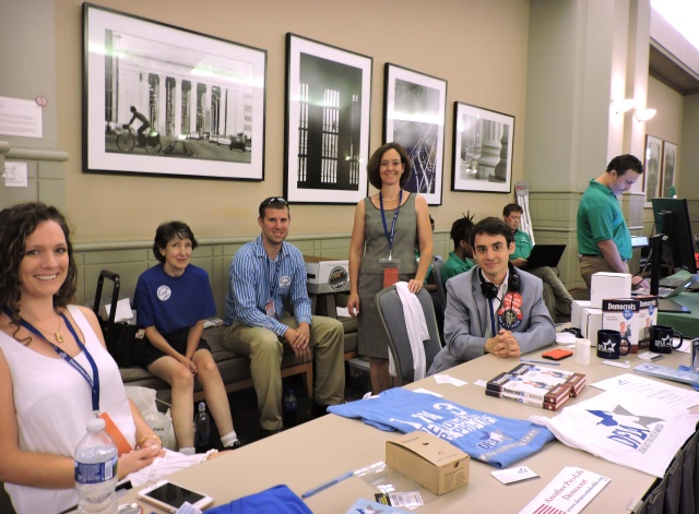 Executive director Kristen Day of the Democrats for Life of America, standing, center, poses with other members July 27 during an event the group held in Philadelphia. (CNS/Elizabeth Evans)