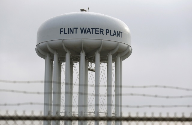 The top of the Flint Water Plant tower is seen in early February in Michigan. (CNS photo/Rebecca Cook, Reuters)
