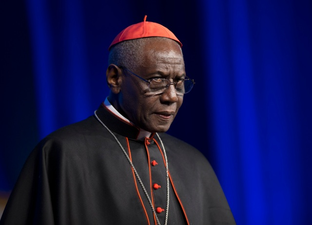 Cardinal Robert Sarah, prefect of the Congregation for Divine Worship and the Sacraments, is pictured at the National Catholic Prayer Breakfast May 17 in Washington. (CNS photo/Bob Roller)