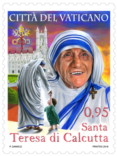 The Vatican will anticipate the canonization of Blessed Teresa of Kolkata with this special postage stamp, which will be released Sept. 2, two days before Pope Francis officially declares her a saint. (CNS/courtesy Vatican Philatelic and Numismatic Office)