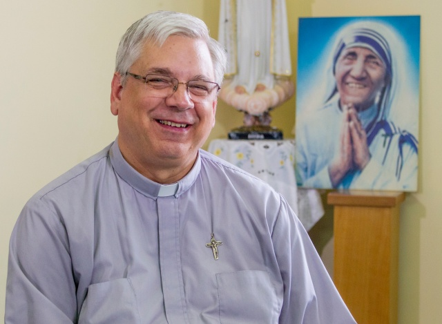 Father Brian Kolodiejchuk of the Missionaries of Charity Fathers, postulator for the cause of Blessed Teresa of Kolkata, in the chapel of the Missionary of Charity Fathers' house in Rome. (CNS/Robert Duncan).
