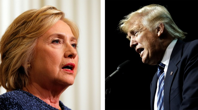 In a combination photo, U.S. Democratic presidential nominee Hillary Clinton is seen Sept. 9 and U.S Republican presidential nominee Donald Trump is seen Sept. 14. (CNS photo/Brian Snyder/Mike Segar, Reuters)