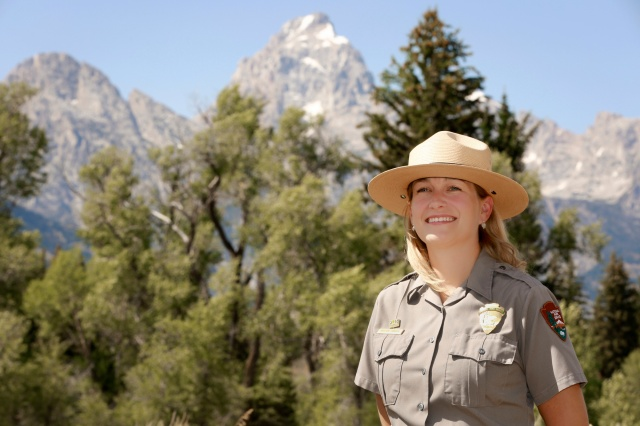 National Park Service Ranger Kristen Dragoo works as an interpreter and education coordinator in Grand Teton National Park in Wyoming. The Catholic wife and mother said part of her job is to help visitors stay safe and give them information on park resources and history. (CNS/Nancy Wiechec)