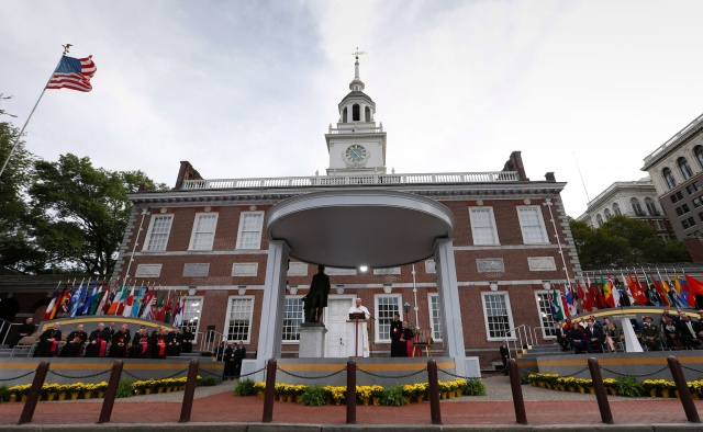 Pope Francis delivers an address Sept. 26, 2015, in Philadelphia from Independence Hall, which is part of the National Park Service system. (CNS/Paul Haring)