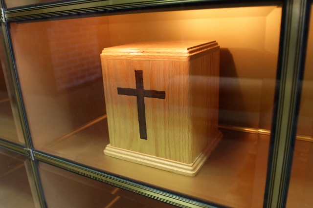 An urn containing cremated remains is seen in a niche in the Holy Rood Cemetery mausoleum in Westbury, N.Y., in 2010. (CNS/Gregory A. Shemitz)