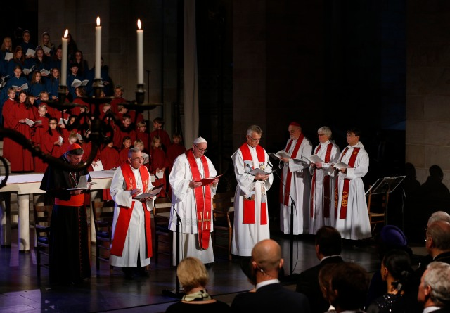 Pope Francis attends an ecumenical prayer service at the Lutheran cathedral in Lund, Sweden, Oct. 31. (CNS/Paul Haring)