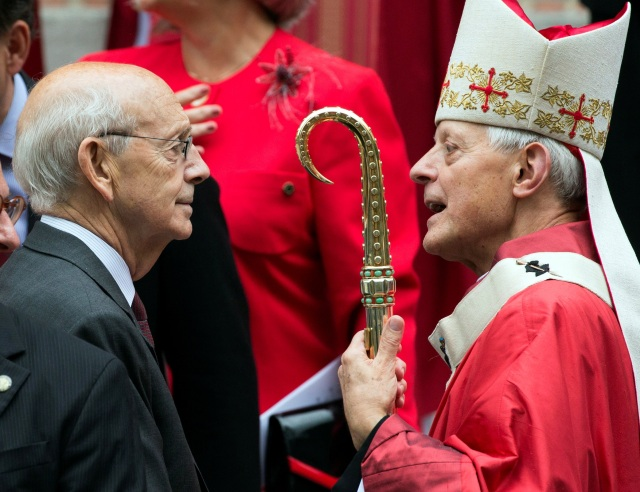 U.S. Supreme Court Justice Stephen Breyer speaks with Washington Cardinal Donald W. Wuerl after the annual Red Mass Oct. 2 at the Cathedral of St. Matthew the Apostle in Washington. (CNS photo/Joshua Roberts, Reuters)