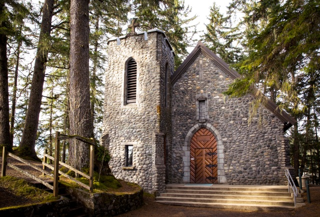 The chapel at the Shrine of St. Therese in Juneau, Alaska, seen in a 2014 photo, is constructed of beach stone plucked from the surrounding shoreline. (CNS photo/Nancy Wiechec)