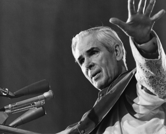 "Archbishop Fulton J. Sheen is pictured preaching in an undated photo. As a priest he preached on the popular ""The Catholic Hour"" radio program and went on to become an Emmy-winning televangelist. (CNS photo)"