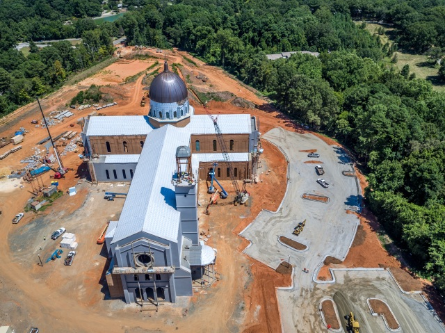 Construction progresses this fall on the new Holy Name of Jesus Cathedral in Raleigh, N.C., expected to be completed by the middle of 2017. (CNS/courtesy Diocese of Raleigh)