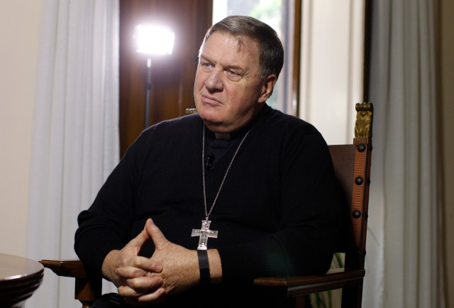 Cardinal-designate Joseph W. Tobin is pictured during an interview in Rome Nov. 17. (CNS/Paul Haring)