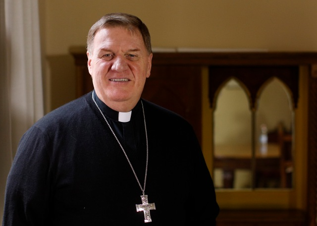 Cardinal-designate Joseph W. Tobin of Indianapolis is pictured after an interview in Rome Nov. 17. (CNS/Paul Haring)