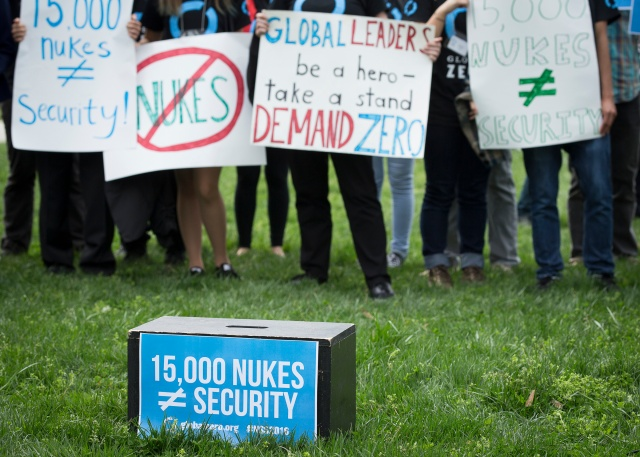 Demonstrators in Washington protest nuclear weapons earlier this year. (CNS/Tyler Orsburn)