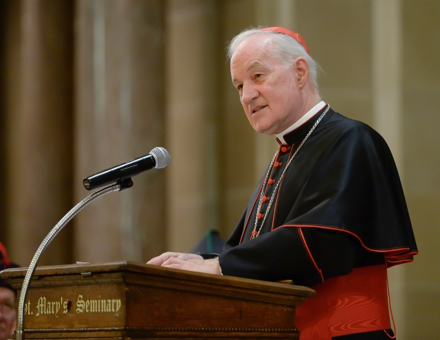 Cardinal Marc Ouellet, prefect of the Congregation for Bishops at the Vatican, is seen at St. Mary's Seminary &University in Roland Park, Md., Nov. 15. The cardinal spoke at a celebration to mark the 225th anniversary of the arrival of the Sulpicians in the U.S. and the founding of St. Mary's, which gave the cardinal an honorary degree. (CNS/courtesy Will Kirk)