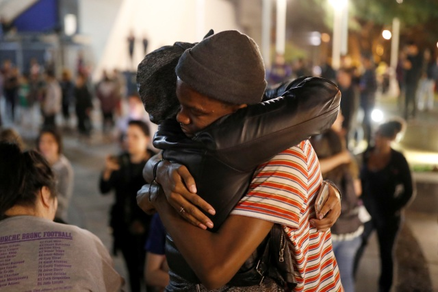 Students embrace each other in the early morning hours of Nov. 9 during a demonstration at San Francisco State University following the election of Donald Trump as president of the United States. (CNS/Reuters)