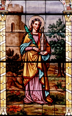 A stained glass window of St. Barbara is seen at the Basilica of St. Stanislaus Kostka in Winona, Minn. (CNS/courtesy The Crosiers)