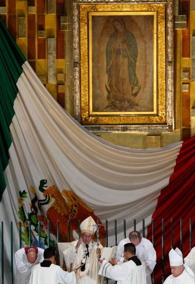 The original image of Our Lady of Guadalupe is seen as Pope Francis delivers his blessing last February at the conclusion of Mass in the Basilica of Our Lady of Guadalupe in Mexico City. (CNS/Paul Haring)