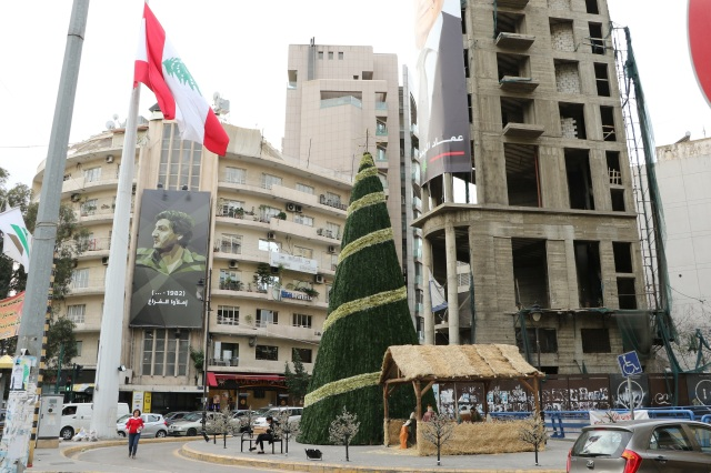 A life-size manger scene decorates a busy intersection in Beirut. (CNS/Johnny Antoun)