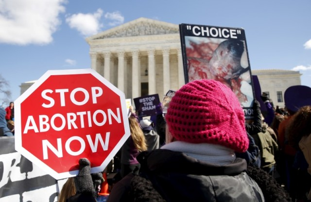 Pro-life supporters demonstrate in front of the U.S. Supreme Court. (CNS/Reuters)