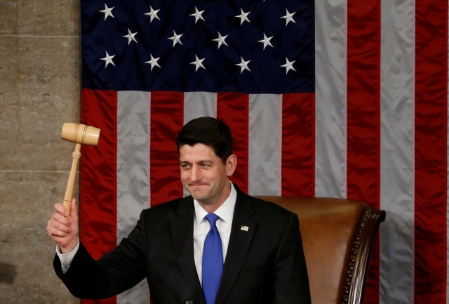 U.S. House Speaker Paul Ryan, R-Wis., raises the gavel during the opening session of the new Congress on Capitol Hill in Washington Jan. 3. Ryan, who is Catholic, was re-elected speaker of the House of Representatives earlier in the day. (CNS/Reuters)