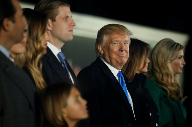 "President-elect Donald Trump smiles as he and his family take part in the ""Make America Great Again! Welcome Celebration"" at the Lincoln Memorial in Washington Jan. 19, the eve of his swearing-in as the country's 45th president. (CNS/Reuters)"