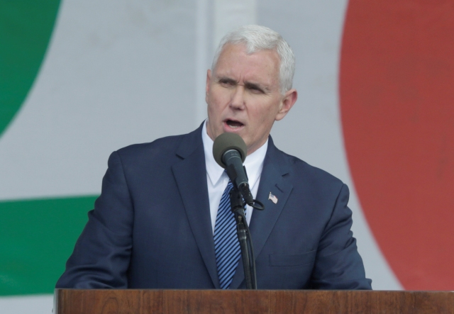 Vice President Mike Pence speaks during a rally at the annual March for Life in Washington Jan. 27. (CNS/Reuters)