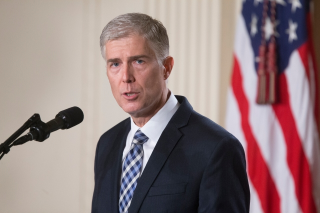Judge Neil Gorsuch speaks after President Donald Trump nominated him to be a U.S. Supreme Court justice Jan. 31. (CNS/EPA)