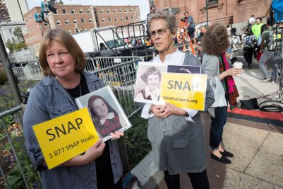 Members of the Survivors Network of those Abused by Priests demonstrate in Philadelphia in 2015 during Pope Francis' visit to the United States. (CNS/Joshua Roberts)