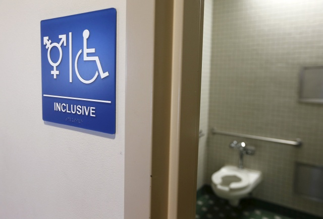 A gender-neutral bathroom is seen at the University of California, Irvine in this 2014 file photo. (CNS/Reuters)
