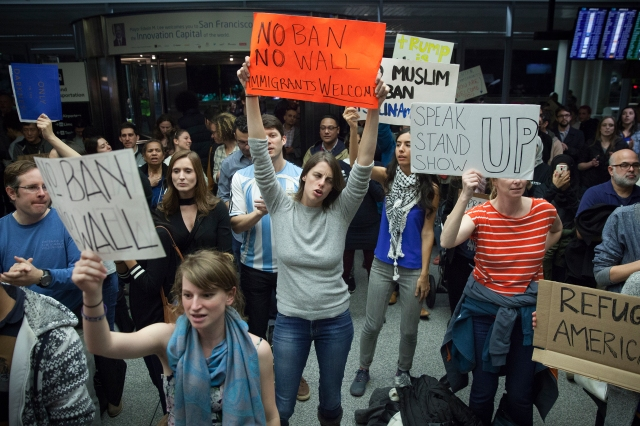 People gather for a protest at San Francisco's airport after people coming in from Muslim-majority countries were blocked by the new executive memorandum by President Donald Trump. (CNS/EPA)