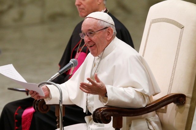 Pope Francis speaks during his general audience in Paul VI hall at the Vatican Feb. 8. (CNS/Paul Haring)