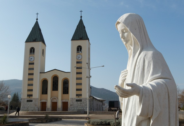 A statue of Mary is seen outside St. James Church in Medjugorje, Bosnia-Herzegovina, in this 2011 file photo. (CNS/Paul Haring)