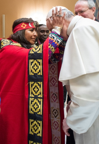 Pope Francis meets with participants in the Indigenous Peoples' Forum of the International Fund for Agricultural Development Feb. 15 at the Vatican. (CNS/L'Osservatore Romano)