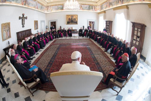 "Pope Francis meets with bishops from Chile during their ""ad limina"" visits to the Vatican Feb. 20. (CNS/L'Osservatore Romano)"