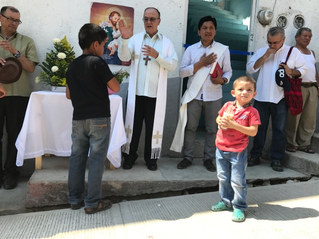 Mexican Coadjutor Bishop Enrique Diaz Diaz of San Cristobal de Las Casas blesses a new shelter for migrants Feb. 27 on the Mexico-Guatemala border. The shelter will house families seeking asylum in Mexico. (CNS/David Agren)