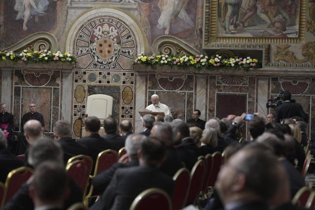 Pope Francis speaks during the European Union summit at the Vatican March 24. (CNS/L'Osservatore Romano via EPA)