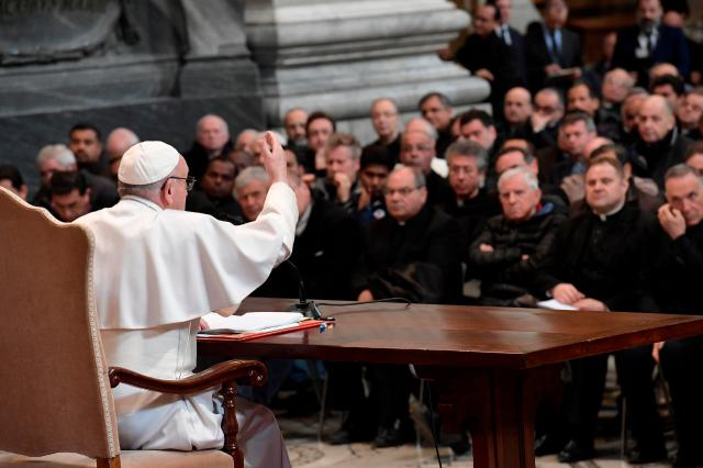 Pope Francis addresses priests of the Diocese of Rome during a meeting at the Basilica of St. John Lateran in Rome March 2. (CNS/L'Osservatore Romano)