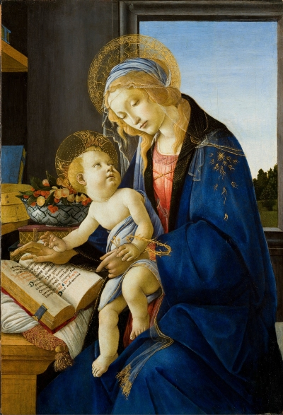 "This painting titled ""Madonna and Child. (Madonna of the Book)"" (circa 1484-1490) by Renaissance artist Sandro Botticelli is one of several included in an exhibition titled ""Botticelli and the Search for the Divine"" on display at  museums in Williamsburg, Va., and Boston. (CNS/Muscarelle Museum of Art)"