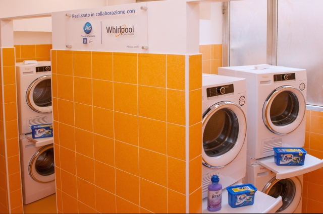 Six brand new washers and dryers donated by Whirlpool are featured at the Pope Francis Laundry facility in Rome, a new laundromat opened April 10 by the Papal Almoner's Office for the city's homeless. (CNS/courtesy of Papal Almoner's Office)
