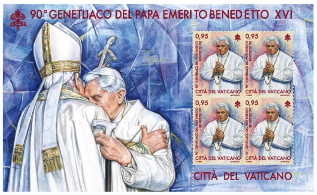 In early May the Vatican stamp and coin office will release stamps marking retired Pope Benedict XVI's 90th birthday and important events in the life of the church spanning almost 2,000 years.(CNS/Vatican)