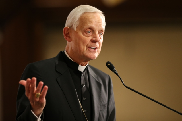 Washington Cardinal Donald W. Wuerl speaks during an April 20 forum to release the findings of a study on responses to Christian persecution. The event was at the National Press Club in Washington. (CNS/Bob Roller)