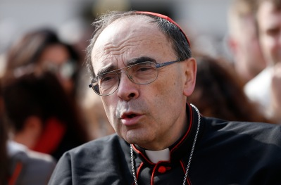 Cardinal Philippe Barbarin of Lyon, France, before the start of Pope Francis' general audience April 26. (CNS/Paul Haring)