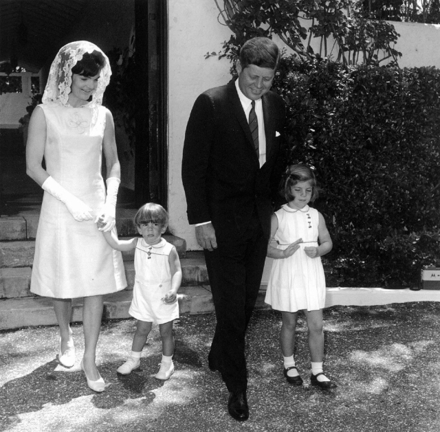 President John F. Kennedy, his wife, Jacqueline, and their children, Caroline and John Jr., are seen on Easter Sunday in 1963. (CNS/Reuters)