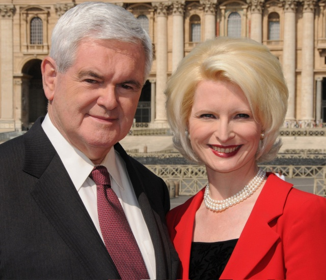 Former U.S. House Speaker Newt Gingrich poses with his wife, Callista, outside St. Peter's Basilica at the Vatican in 2009. (CNS file/courtesy Gingrich Productions)