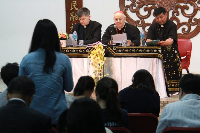 Cardinal Lorenzo Baldisseri, secretary-general of the Synod of Bishops, seen in Hong Kong May 13, encouraged  young Catholics to get involved in preparations for the next synod gathering, to be held in Rome in October 2018. (CNS/Francis Wong)