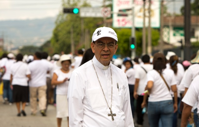 Cardinal-designate Gregorio Rosa Chavez, auxiliary bishop of San Salvador, El Salvador, is one of five new cardinals Pope Francis will elevate at a June 28 consistory. Bishop Rosa Chavez, seen at a march for peace, was a close collaborator of Blessed Oscar Romero. (CNS/Octavio Duran)