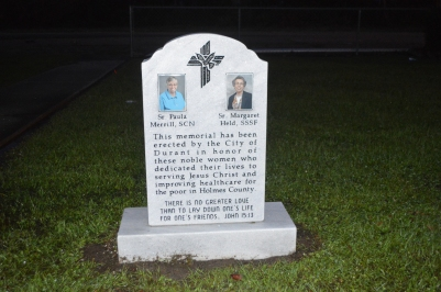 This memorial dedicated to Sister Paula Merrill and Sister Margaret Held was blessed and dedicated May 20 in Durant, Miss. (CNS/Ruthie Robison, Mississippi Catholic)