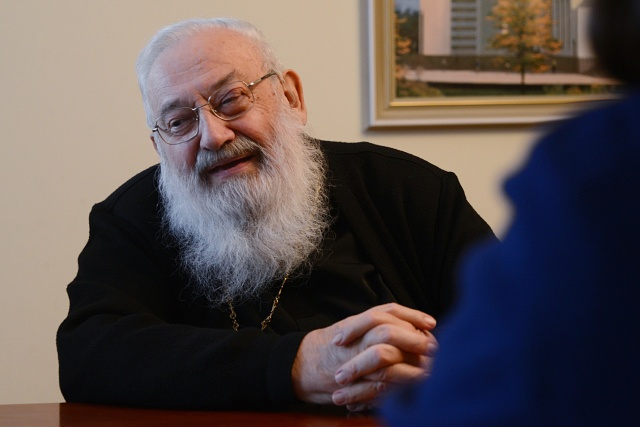 Cardinal Lubomyr Husar, retired head of the Ukrainian Catholic Church, is seen during an interview with Catholic News Service in Kiev in 2014. (CNS/ Petro Didula, Ukrainian Catholic University)