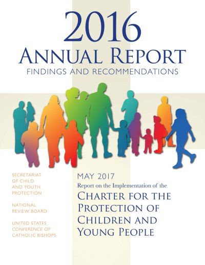 "This is the cover for the latest report on implementation of the U.S. bishops' ""Charter for the Protection of Children and Young People."" (Image via USCCB)"